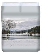 A Snowy Day On Lake Chatuge Duvet Cover