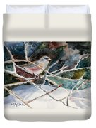 A Snowy Perch Duvet Cover