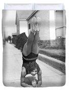 California Girl Imbibes Soda Upside Down Duvet Cover