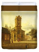 A Square Before A Church Duvet Cover