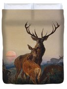 A Stag With Deer In A Wooded Landscape At Sunset Duvet Cover by Charles Jones