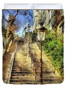 A Stairway In Montmartre Duvet Cover