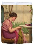 A Stitch Is Free Or A Stitch In Time 1917 Duvet Cover by John William Godward