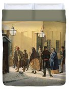A Street Scene, Outside A Prison, 1868 Oil On Canvas Duvet Cover