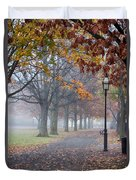 A Stroll In Salem Fog Duvet Cover