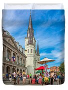 A Sunny Afternoon In Jackson Square Duvet Cover
