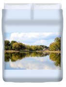 A Sunny Day's Reflections At The Lake House Duvet Cover