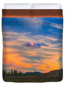 A Surprise Sunset Visit Landscape Painting Duvet Cover