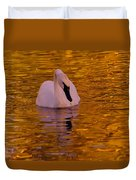 A Swan On Golden Waters Duvet Cover