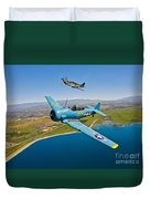 A T-6 Texan And P-51d Mustang In Flight Duvet Cover