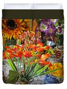 A Table Of Flowers Duvet Cover