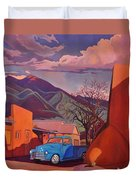 A Teal Truck In Taos Duvet Cover