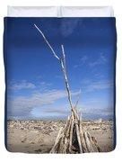 A Teepee Madeup Of Driftwood At Bandon Beach Duvet Cover