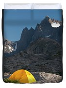 A Tent Is Dwarfed By The High Peaks Duvet Cover