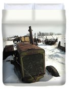 A Tractor In The Snow Duvet Cover