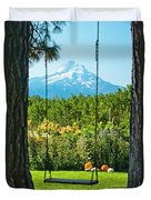 A Tree Swing Is Seen On A Summer Day Duvet Cover