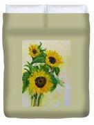 A Trio Of Sunflowers Duvet Cover