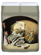 A Trompe Loeil Of Paper Money Coins Duvet Cover by French School