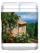 A Tuscan View Poster Duvet Cover