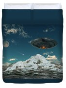 A Ufo Flying Over A Mountain Range Duvet Cover