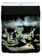 A United States Gun Crew Fire Illumination Rounds At Forward Operating Base Hadrian Duvet Cover