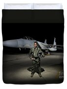 A U.s. Air Force Pilot Stands In Front Duvet Cover by Terry Moore