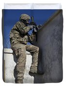 A U.s. Soldier Provides Security At An Duvet Cover