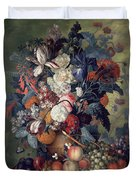 A Vase Of Flowers With Fruit Duvet Cover