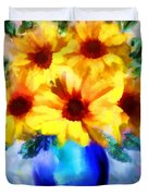A Vase Of Sunflowers Duvet Cover by Valerie Anne Kelly