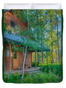 A View Of A Cottage With Aspen Trees Duvet Cover