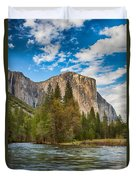 A View Of El Capitan From The Merced River Duvet Cover