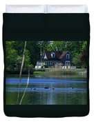 A View Of Some Ducks Enjoying Round Pond At The United States Military Academy Duvet Cover