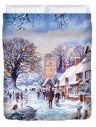 A Village In Winter Duvet Cover