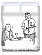 A Waiter Describes The Bottle Of Wine He Holds Duvet Cover by Zachary Kanin