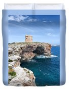 Xviii Defensive Tower In Alcafar Minorca - A Walk About Cliffs Duvet Cover