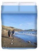 A Walk Along Back Beach Duvet Cover
