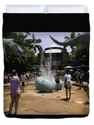 A Water Fountain With Dinosaur Eggs In Universal Studios Singapore Duvet Cover