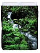 A Waterfall In Redwood National Park Duvet Cover