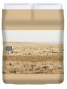 A White Mustang Feeds On Dry Grass Fields Of Arizona Duvet Cover