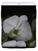 A White Orchid Flower Inside The National Orchid Duvet Cover