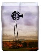 A Windmill And Wagon  Duvet Cover