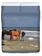 A Windy Day At Hunting Island Beach Duvet Cover