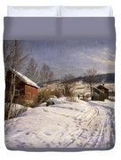 A Winter Landscape Lillehammer Duvet Cover by Peder Monsted
