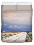 A Winter Landscape With A Horse And Cart Duvet Cover