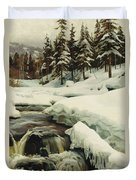 A Winter Landscape With A Mountain Torrent Duvet Cover
