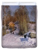 A Winter Landscape With Children Sledging Duvet Cover by Peder Monsted