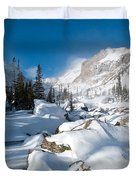 A Winter Morning In The Mountains Duvet Cover by Cascade Colors