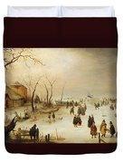 A Winter River Landscape With Figures On The Ice Duvet Cover