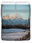 A Winter Scene Of A Snowy Field, Fence Duvet Cover