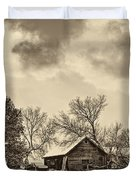A Winter Sky Sepia Duvet Cover
